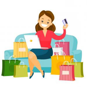Caucasian Woman Using Laptop For Online Shopping Vector.