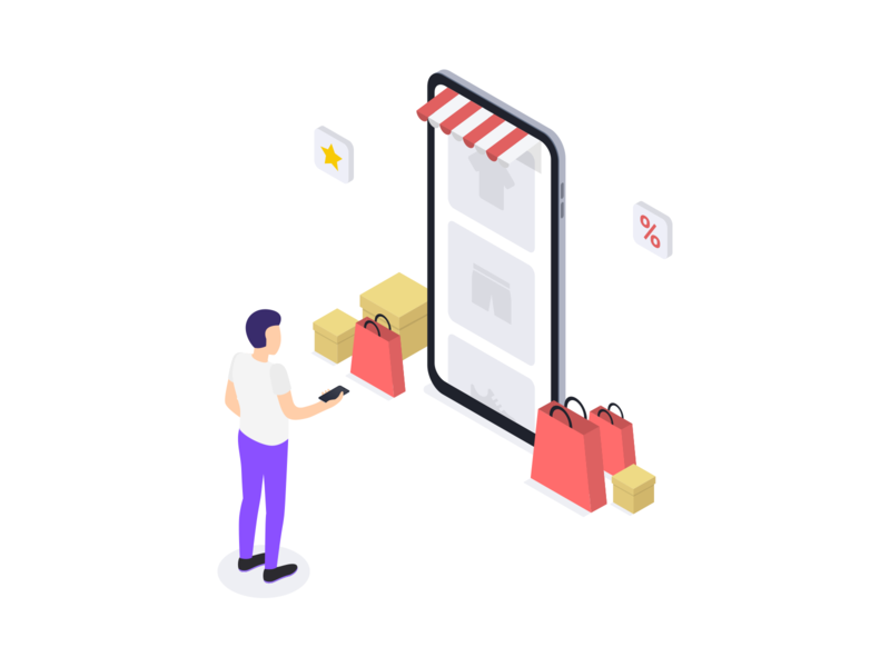 Online Shopping by Isometric on Dribbble.