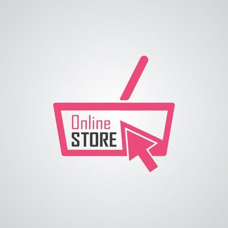 Online Store Logo. Orange Basket. Vector Illustration.