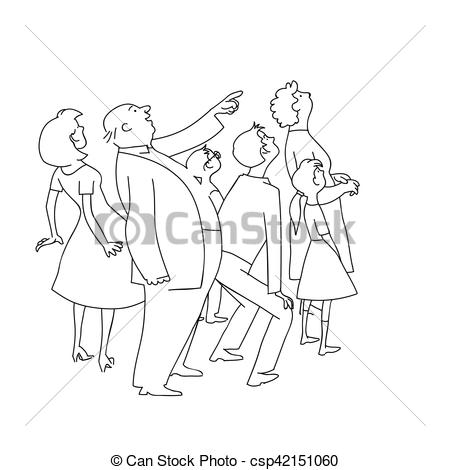Clip Art Vector of The crowd of onlookers watching. The audience.