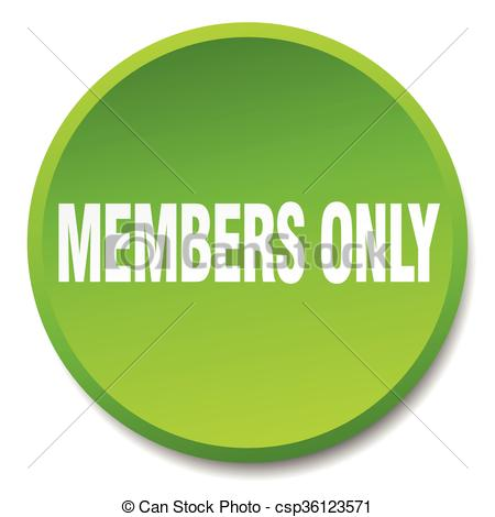 Vectors Illustration of members only green round flat isolated.