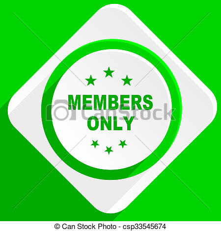 Stock Illustrations of members only green flat icon csp33545674.