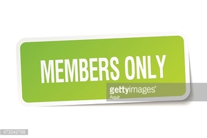 Members Only Green Square Sticker on White Background stock.