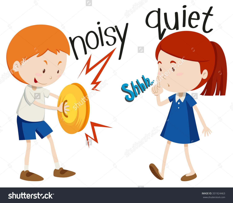 Opposite Adjectives Noisy Quiet Illustration Stock Vector.