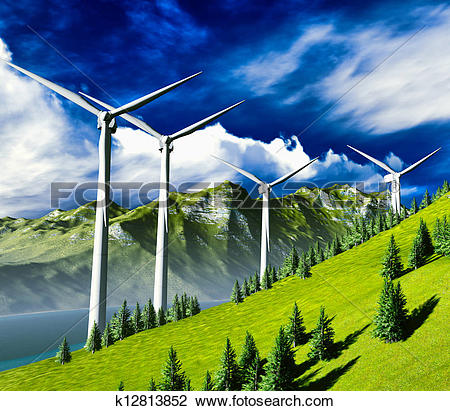 Clip Art of Wind turbines onshore k12813852.