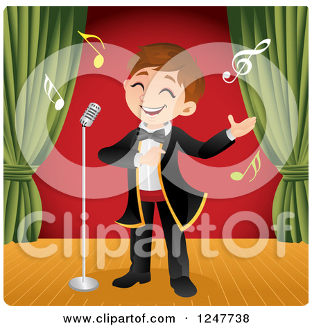 Clipart of a Boy Singing Opera on Stage.