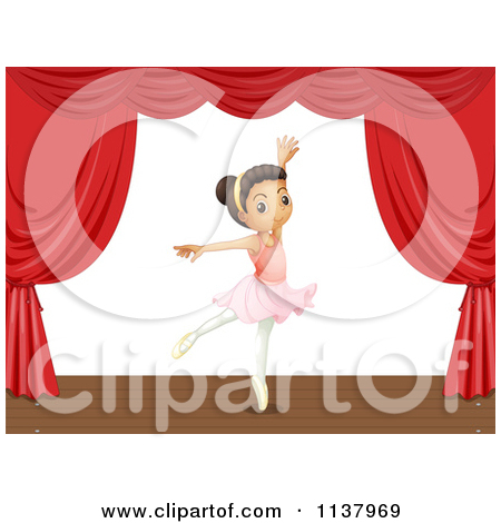 Cartoon Of A Ballerina Girl Performing On Stage.