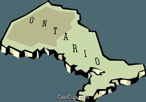 Ontario map Royalty Free Vector Clip Art illustration.