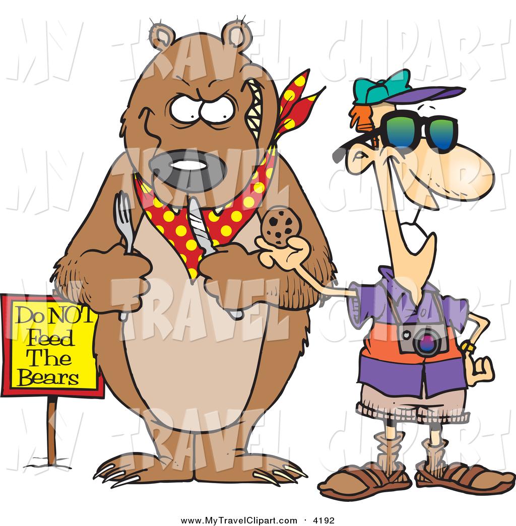 Clipart of a Cartoon White Male Tourist Feeding a Cookie to a Bear.