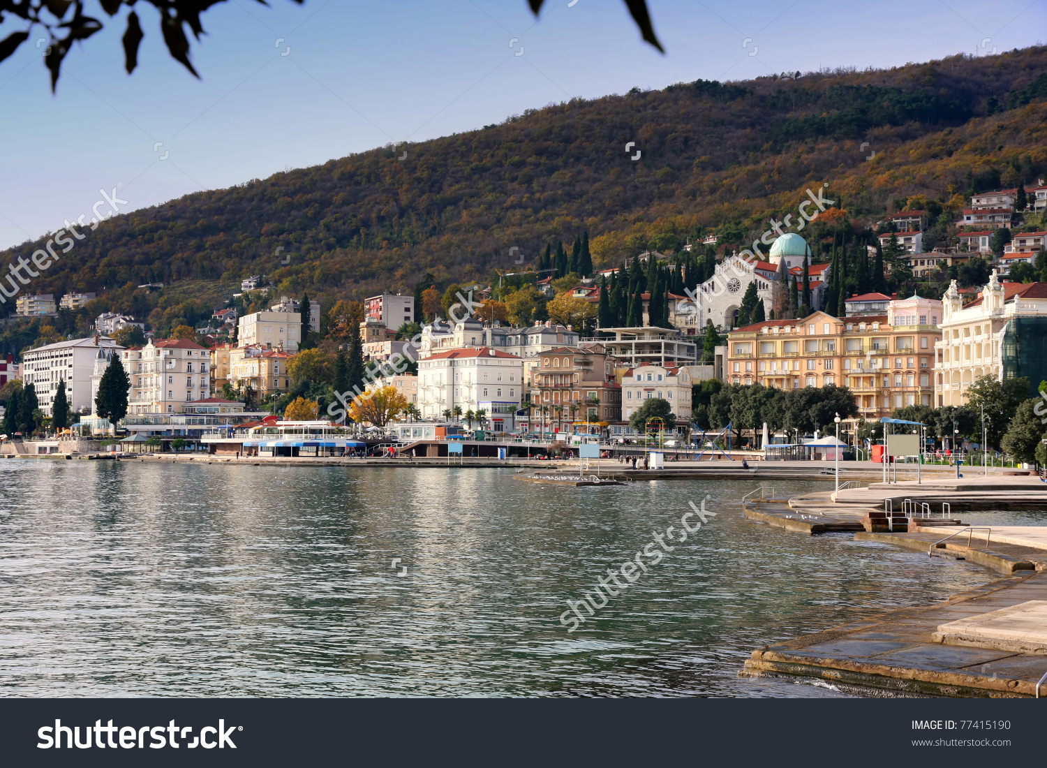 Panoramic View Of Mediterranean Town, Opatija, Croatia Stock Photo.