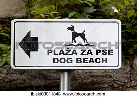 """Pictures of """"Sign on a beach for dogs in Opatija, Istria, Croatia."""