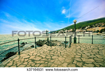 Stock Photography of Excursion path lungomare along the Adriatic.