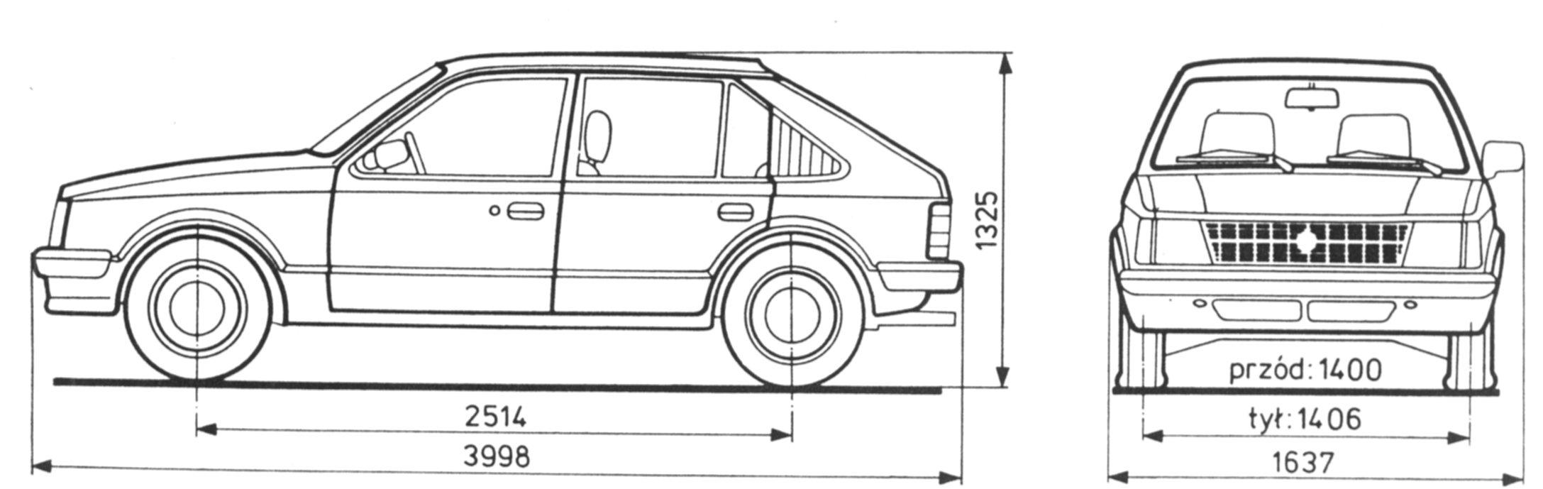 Opel Kadett D Blueprint.