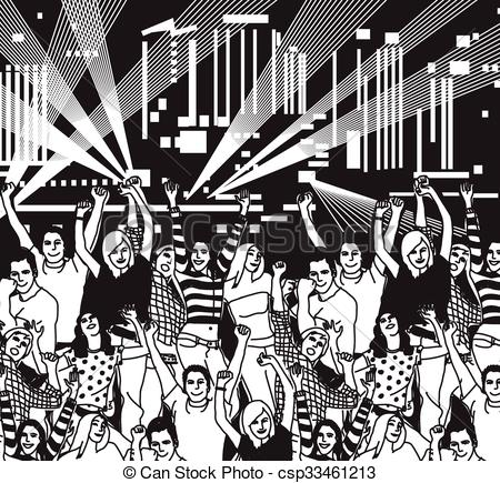 Vector Clip Art of Disco open air crowd young people dance black.