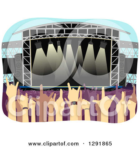 Clipart of an Open Air Stadium with Concert Fans.