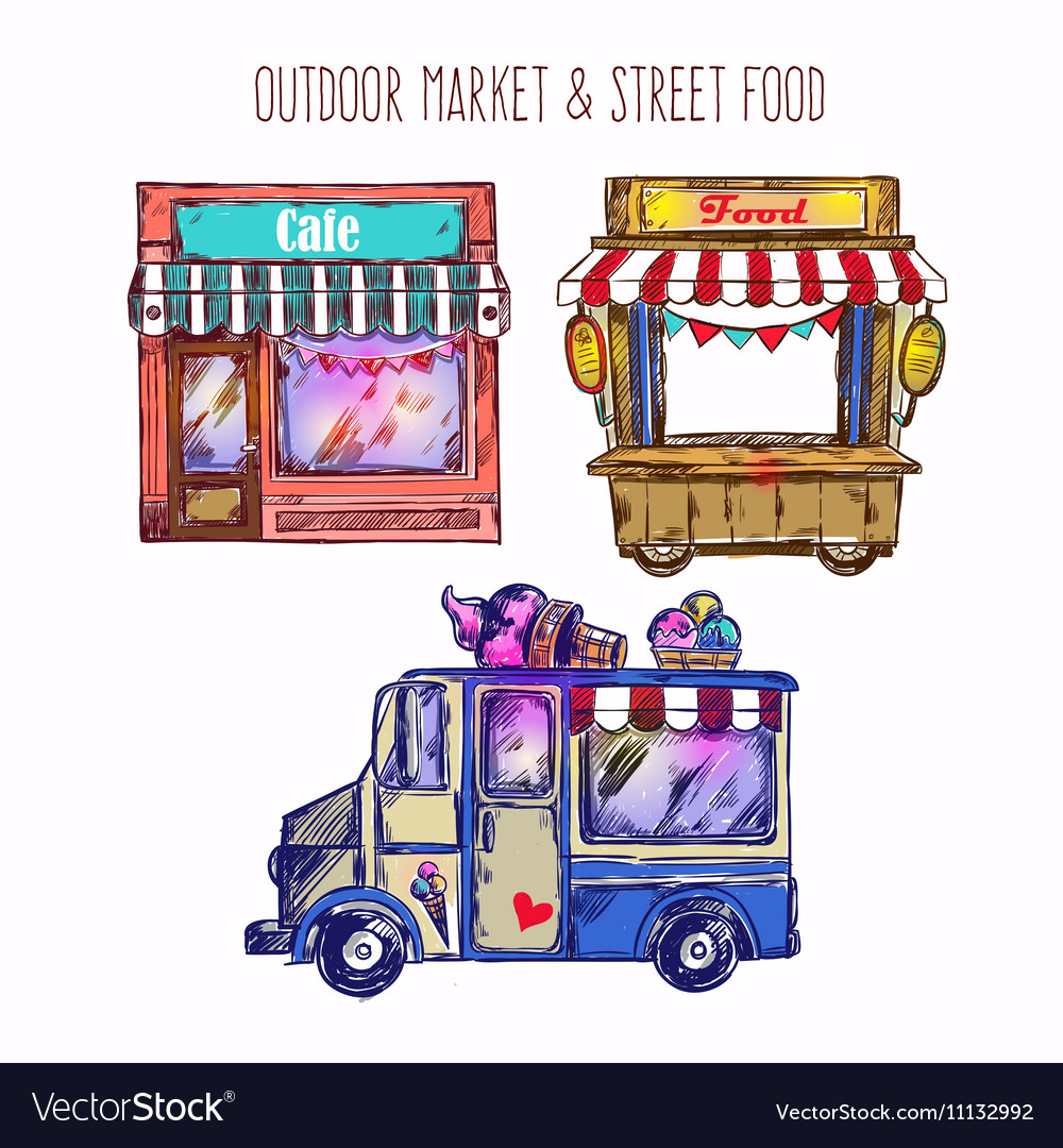 Outdoor Market Sketch Icon Set.