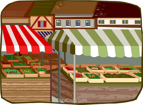 outdoor market stands Royalty Free Vector Clip Art.