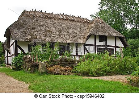 Stock Photography of Farm cottage in Open Air Museum in Copenhagen.