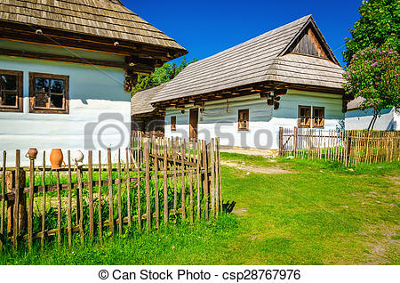 Picture of White huts in open.