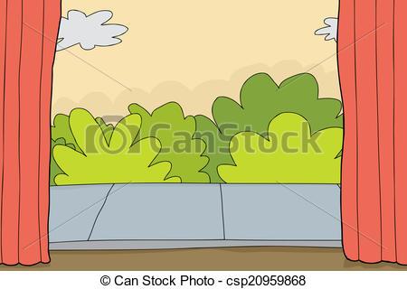 Clip Art Vector of Outdoor Theater Set.