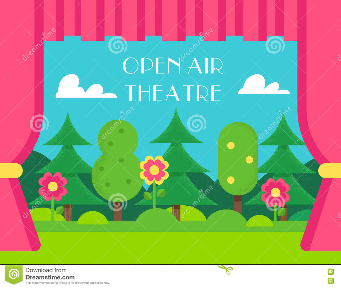 Nature Landscape And Theatre Curtains. Open Air And Outdoor.