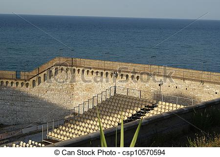 Stock Photographs of Open Air Theatre in ancient Roman ruins.