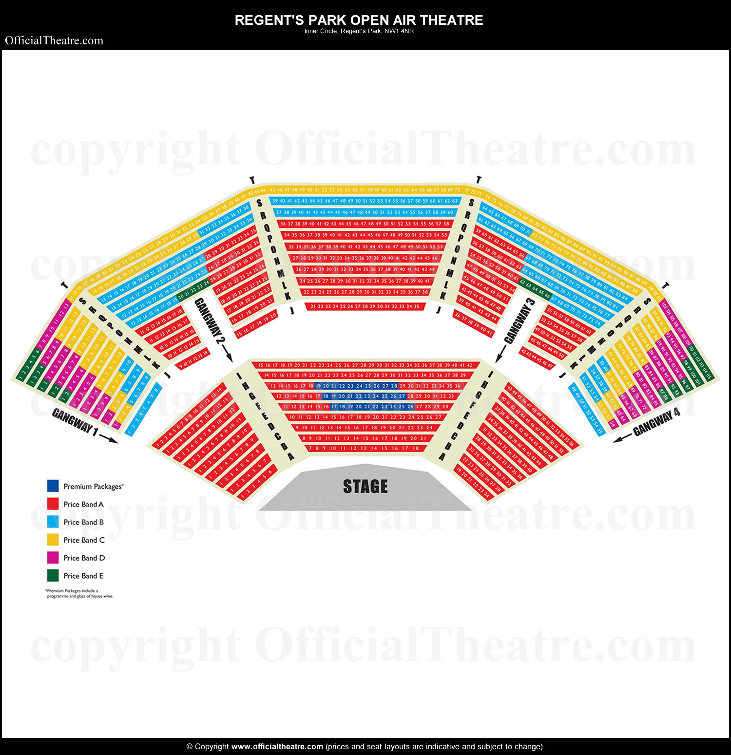Regents Park Open Air Theatre London seat map and prices for On.