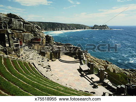 Stock Image of England,Cornwall,Porthcurno,Minack Theatre,open.