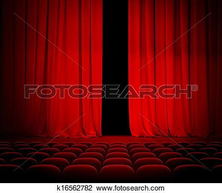 Stock Photo of theatre red curtain slightly open with seats.