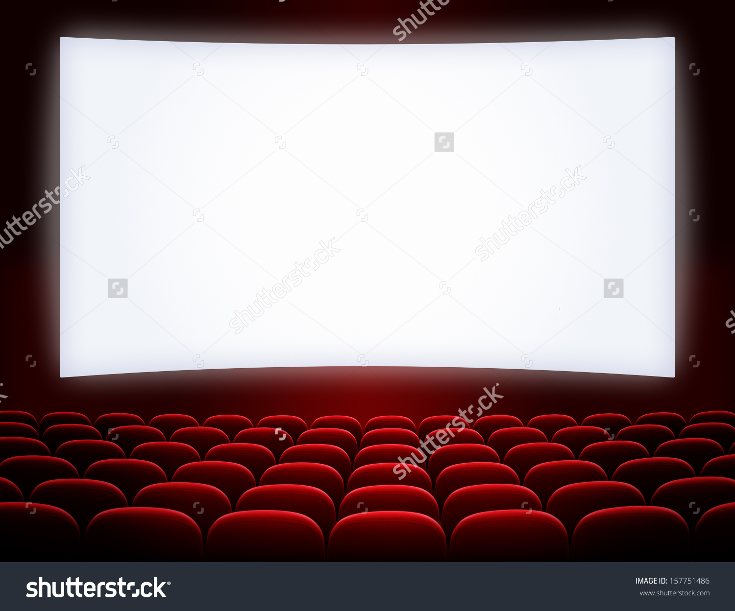 Cinema Screen With Open Red Seats Stock Photo 157751486 : Shutterstock.
