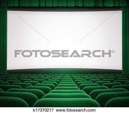 Picture of cinema screen with open green curtain and seats.