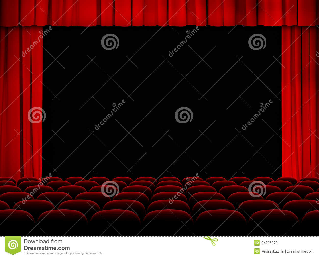Theater Auditorium With Stage, Curtains And Seats Royalty Free.