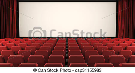 Stock Illustration of Cinema screen with open curtain. 3d.