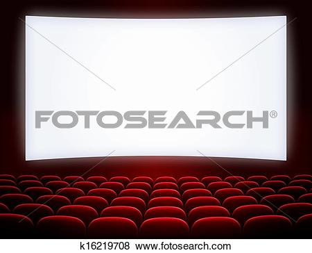 Pictures of cinema screen with open red seats k16219708.