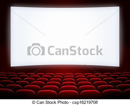 Stock Photography of cinema screen with open red seats csp16219708.