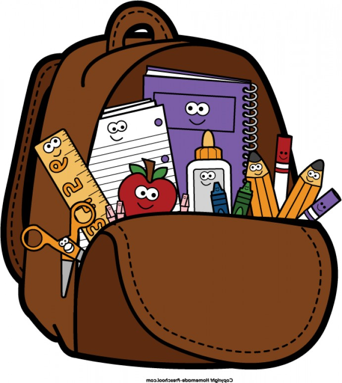 Backpack open brown bag clipart collection.