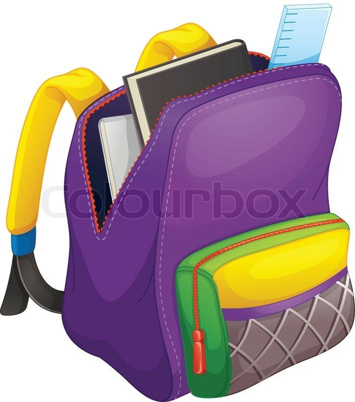 Open School Bag Clipart.