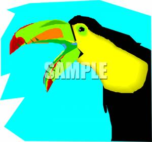 A_Parrot_with_His_Beak_Open_Royalty_Free_Clipart_Picture_100419.