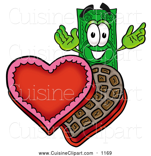 Cuisine Clipart of a Happy Dollar Bill Mascot Cartoon Character.