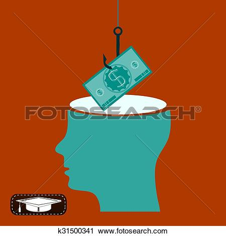 Clipart of Fishing hook with a dollar bill over the open head, the.