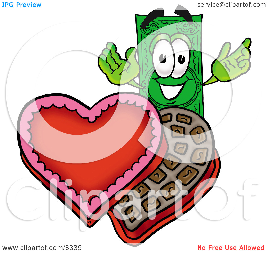 Clipart Picture of a Dollar Bill Mascot Cartoon Character With an.