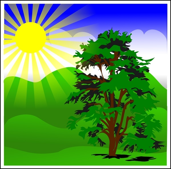 Sunny Spring With Blue Sky clip art Free vector in Open office.