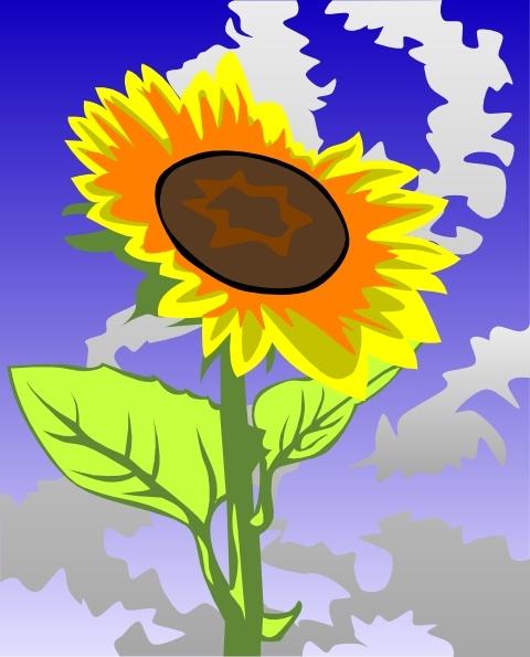 Sunflower Against Blue Sky clip art Free vector in Open office.