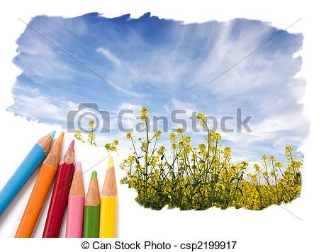 Picture of Color pencil drawing open blue sky landscape.