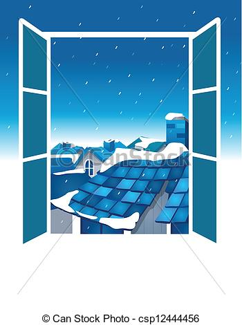 Clipart Vector of Open window with blue sky and roof.