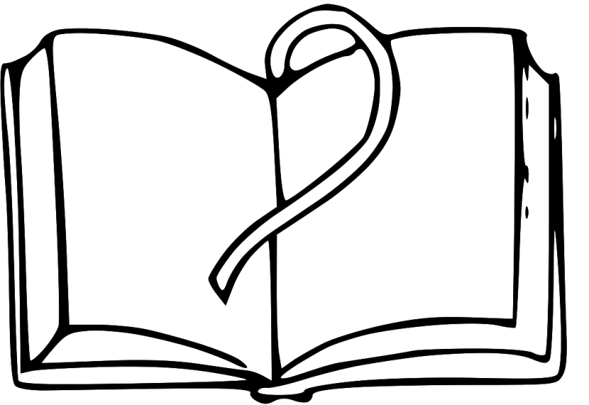 Open book book clipart black and white.