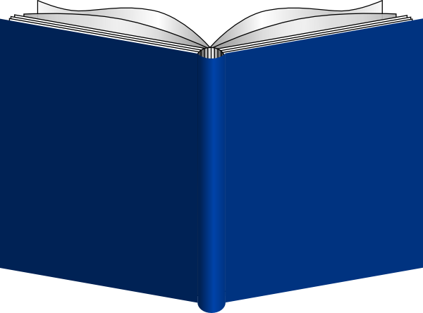 Blue Cover Open Book Cover Clipart.
