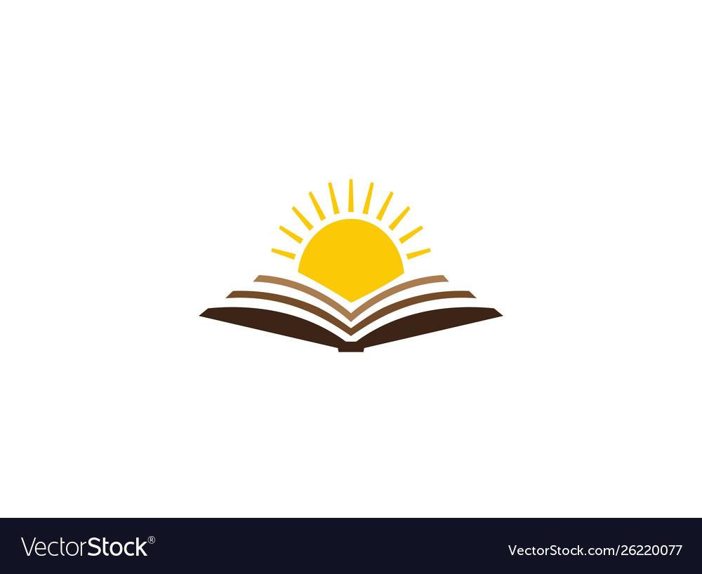 Bright sun in an open book for logo design.