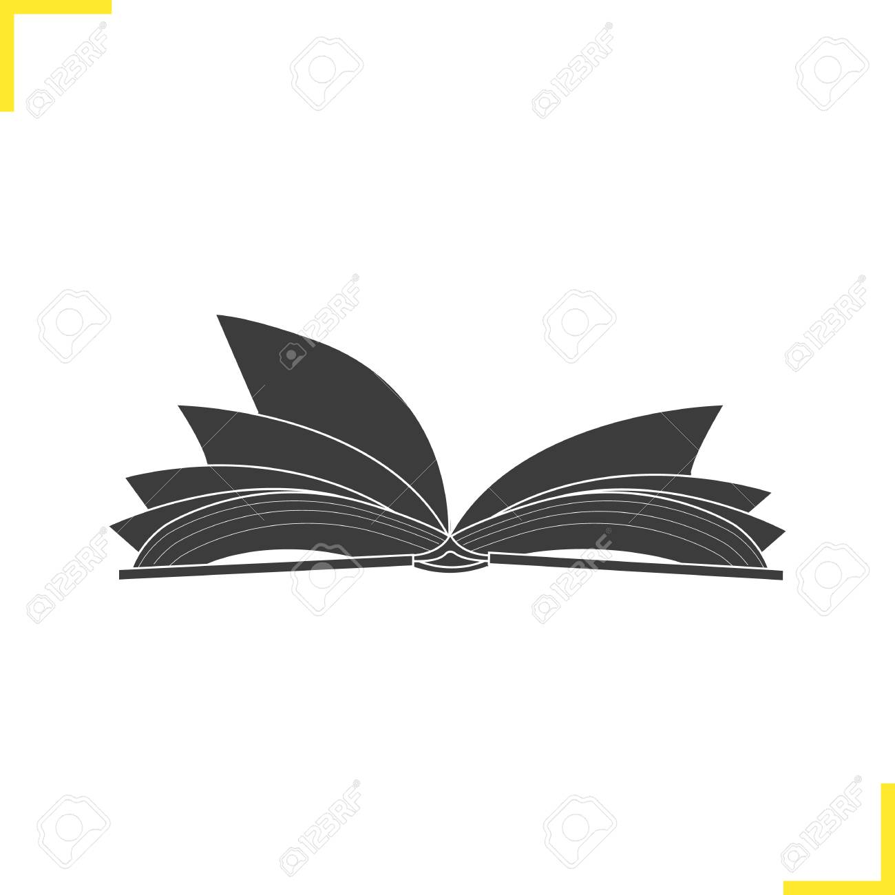Open Book Silhouette Vector.
