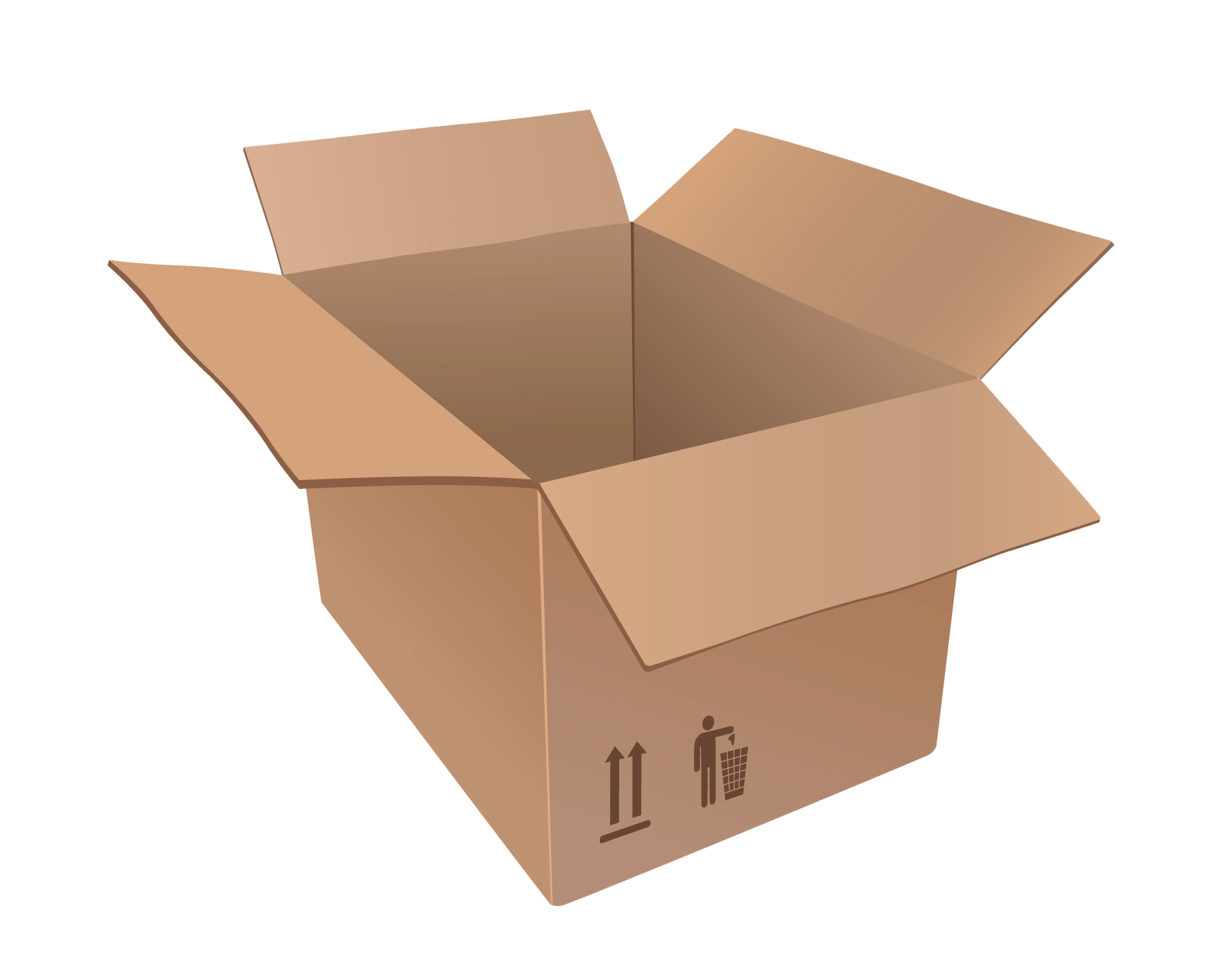 Cardboard Open Box PNG Transparent Image Free.